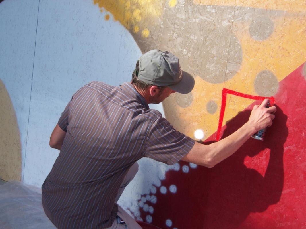 Réalisation de la fresque en 2013