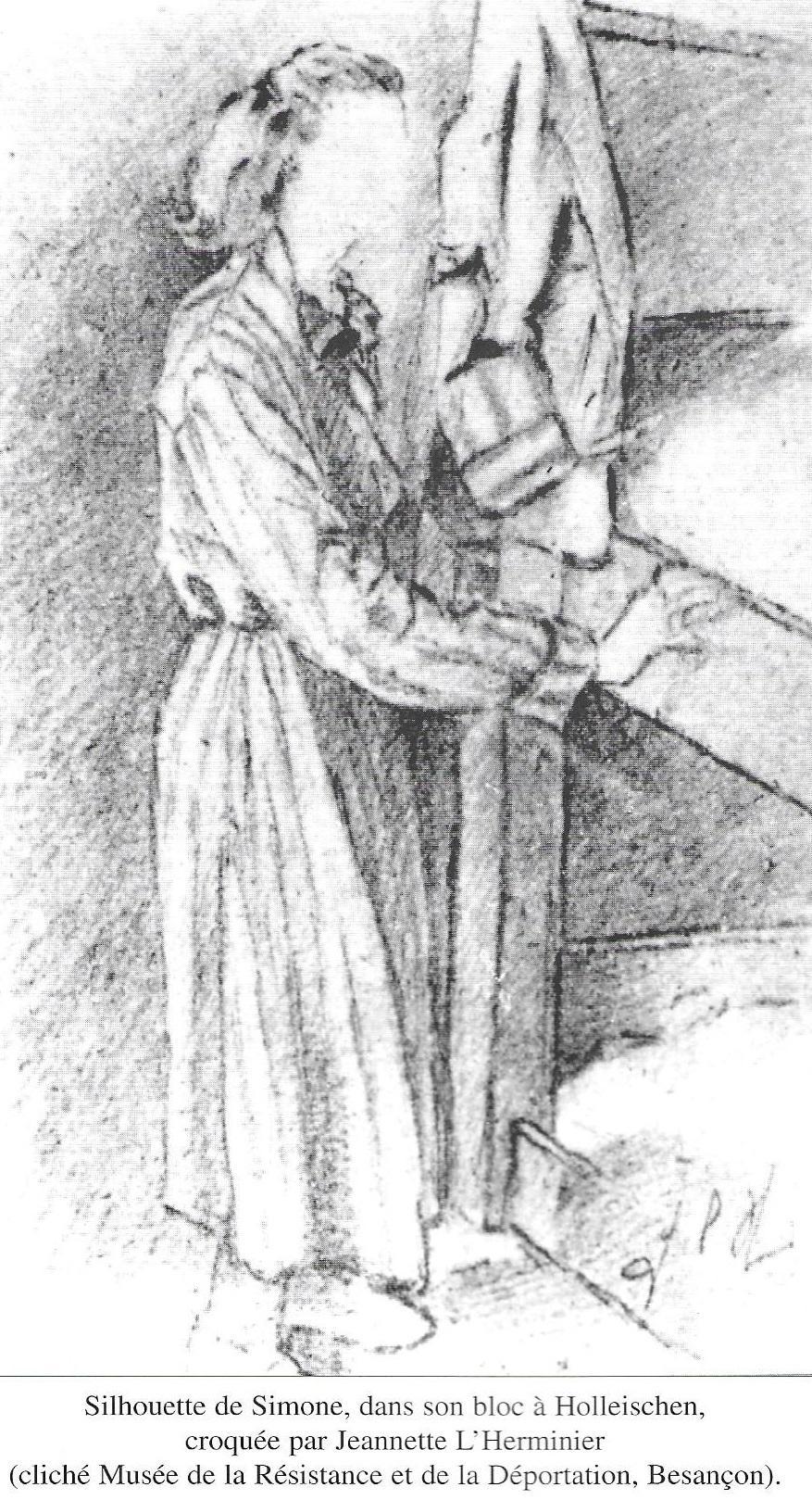 Silhouette de Simone dans son bloc croquée par Jeannette l'Herminier