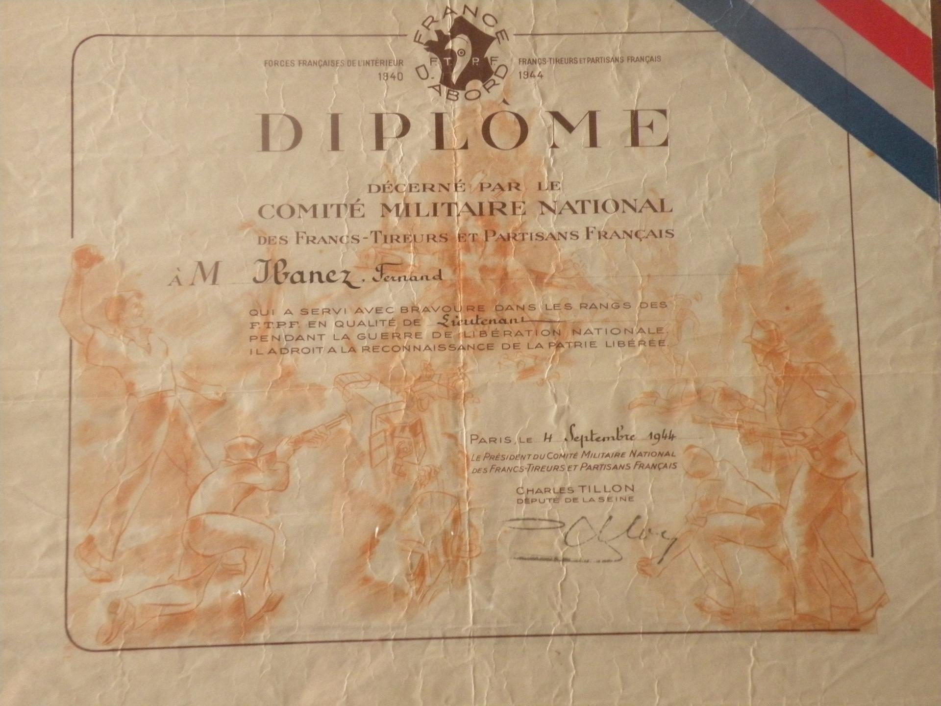 Diplome Fernand Ibanez