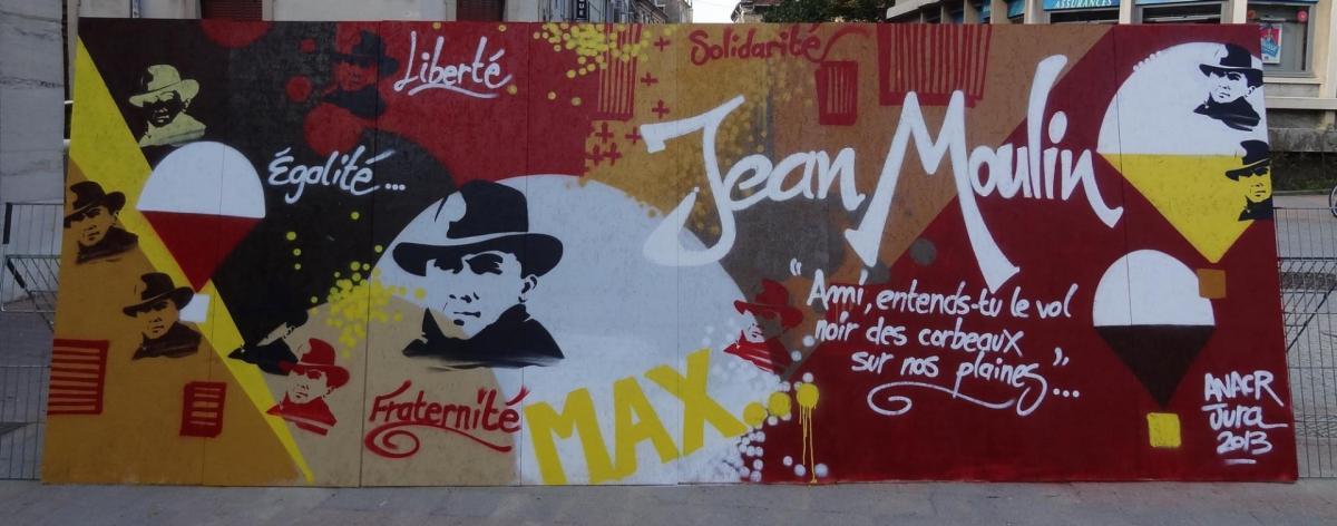 Fresque jean moulin par Yannick Roueire