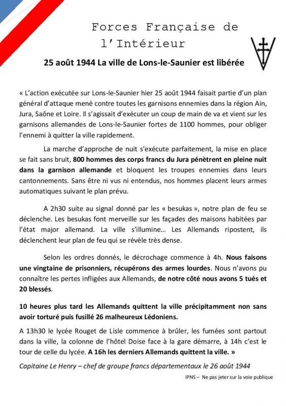 Tract 25 aout libération de Lons